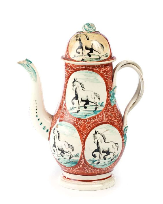 ENGLISH CREAMWARE COFFEEPOT AND COVER, PROBABLY YORKSHIRE, POSSIBLY LEEDS, CIRCA 1775.