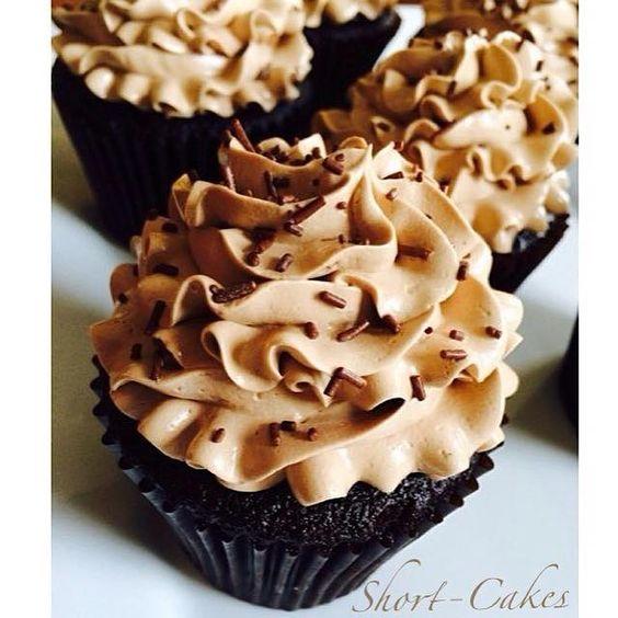 Valrhona chocolate cupcakes with Swiss meringue buttercream.