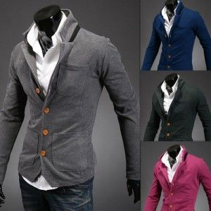 New Style Matching Color Stand-Collar Men's Suit