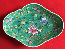Antique Chinese Export Porcelain Serving Platter Dish Plate Famille Vert 19th c.