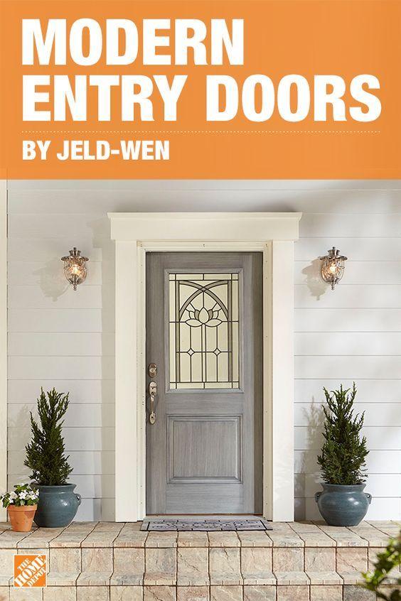 Update Your Home S Entry Door With The Jeld Wen Statement Fiberglass Door Constructed With Eco Friendly Wood Fibers And Non Rot Jamb Doors Exterior Doors Home