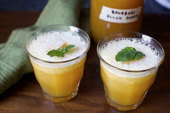 YES. bourbon slush punch by smitten | bourbon, tea, sugar, fresh squeezed oranges and lemons, ice cubes and mint