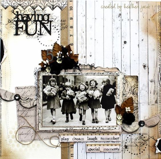 Having Fun...monochromatic page filled with subtle patterns and textures highlights a vintage photo in a new way. .