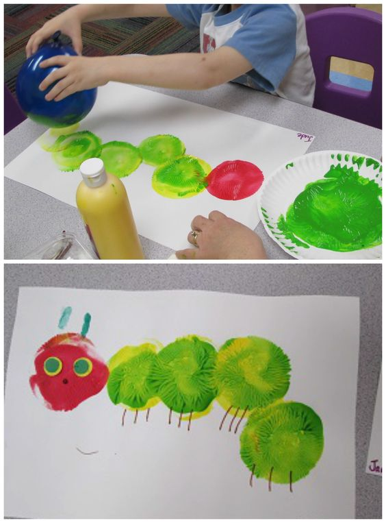 www.flicklearning.com Balloon painting hungry caterpillar craft for kids!