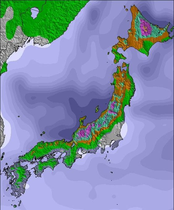 Weather Map and Snow Conditions for Japan - The Purple bits are forecasts for 50cm-100cm. Myoko or Hokkaido?.... The agony of choice..!..!.