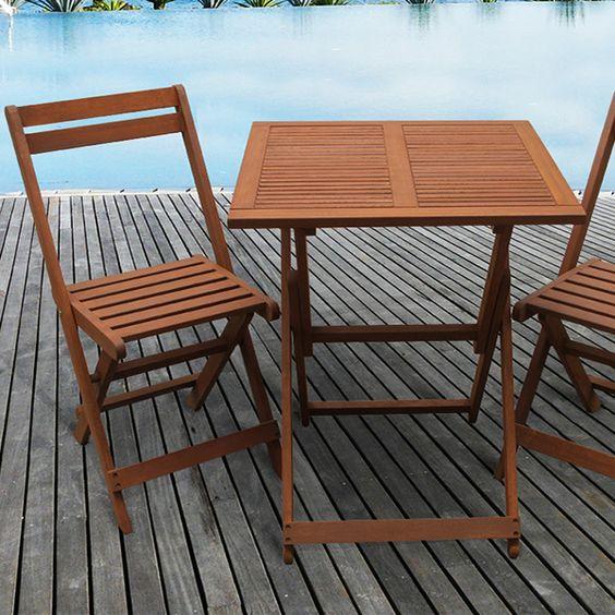 Salon de jardin en bois exotique hano bali marron - Chaise de jardin en bois pliante ...