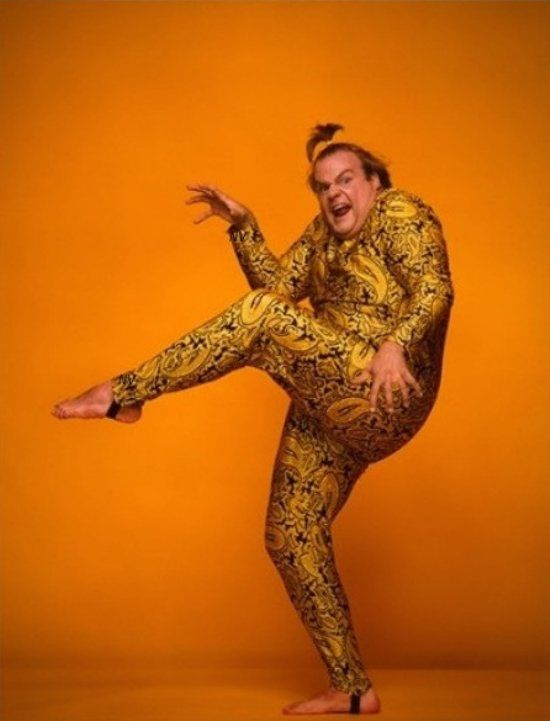 For those who need chris farley with a pig tail in gold paisley spandex -comment by me jonovan kirk
