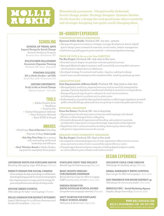 Amazing Resume Design // Www.Mollieruskin.Com | Graphic Design