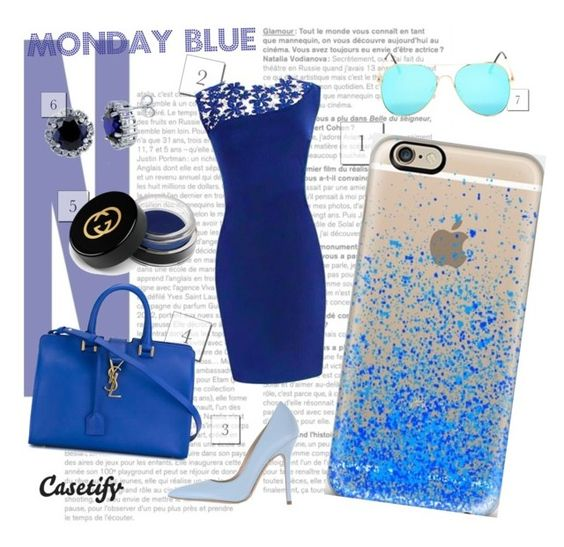 """Monday BLUE"" by casetify ❤ liked on Polyvore featuring Gucci, Yves Saint Laurent, Norma J.Baker, BERRICLE and Casetify"