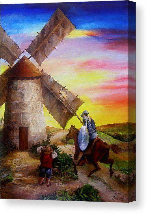 Don Quixote S Windmill Adventure Canvas Print Canvas Art By Dominica Alcantara Hispanic Artists Don Quixote Windmill
