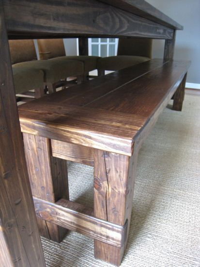 Plans for a Farmhouse Table & Benches I really like the idea of benches
