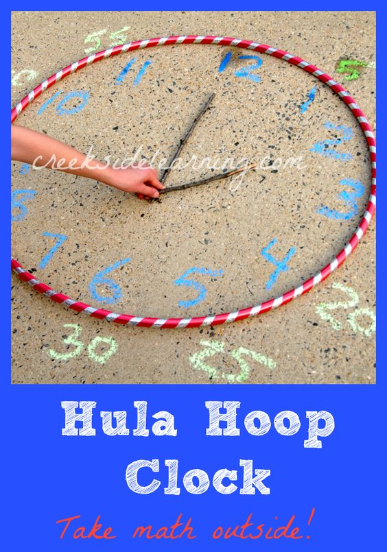 Take math outside! Make a Hula Hoop Clock. #math #summerlearning #ece:
