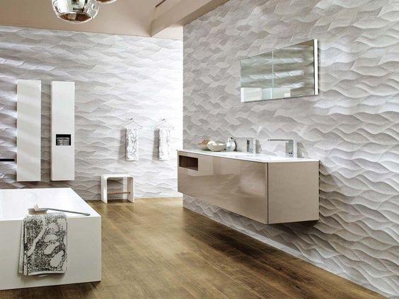 salle de bain contemporaine avec un carrelage mural en relief motif ondul et meubles de rangement - Salle De Bain Contemporaine Luxe