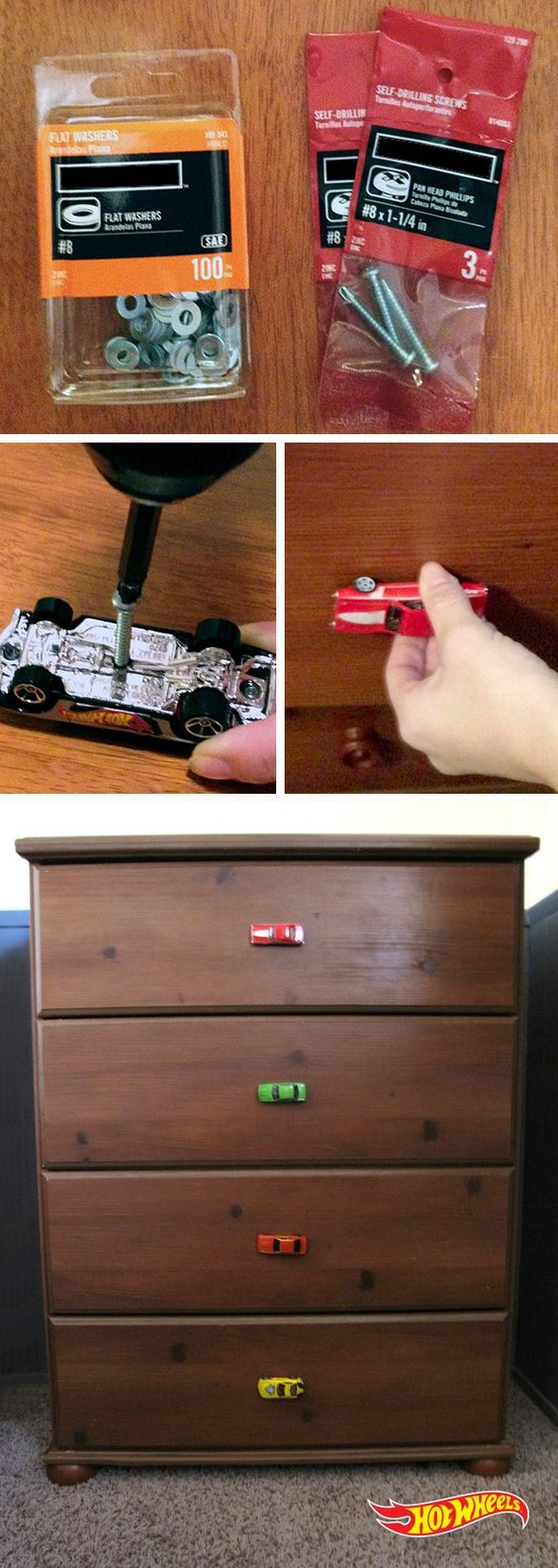 Hot Wheels 'car knobs' are a winning way to decorate your kid's drawers. 1. Drill a self-tapping screw into your Hot Wheels car. 2.Replace existing drawer knob with Hot Wheels car knob.