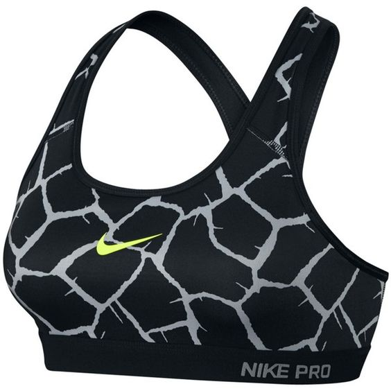 Nike Pro Classic Padded Giraffe Sports Bra , Wolf Grey/Black ($45) ❤ liked on Polyvore featuring activewear, sports bras, sport, nike, sports bra, tops, grey sports bra, nike activewear, yoga activewear and black sports bra