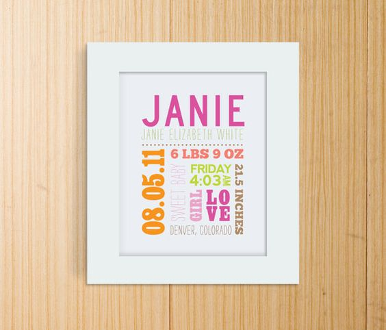 cute birth print, would be a nice gift