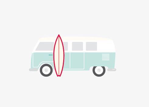 VW van + surf board