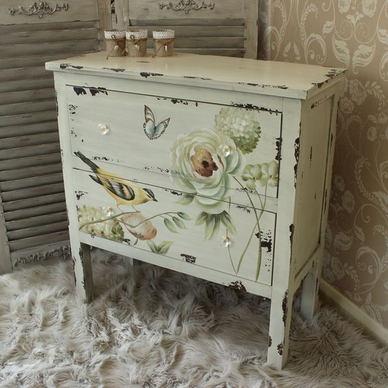 Botanical Range - Cream Floral Chest of Drawers