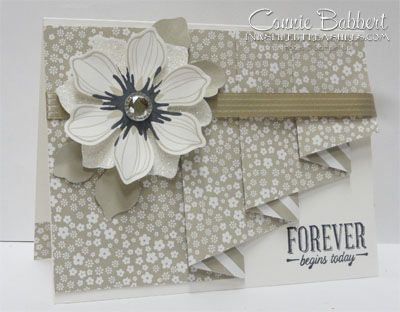 handmade wedding card ... lovely neutrals ... luv the drapery fold showing a tease from the reverse side of printed paper ... Stampin' Up!