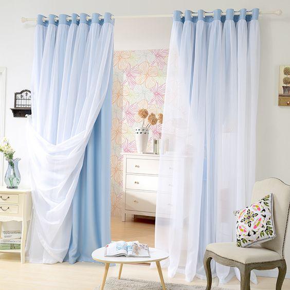 Prix pour Double couche ombre rideau de douche, Chambre, Salon ...