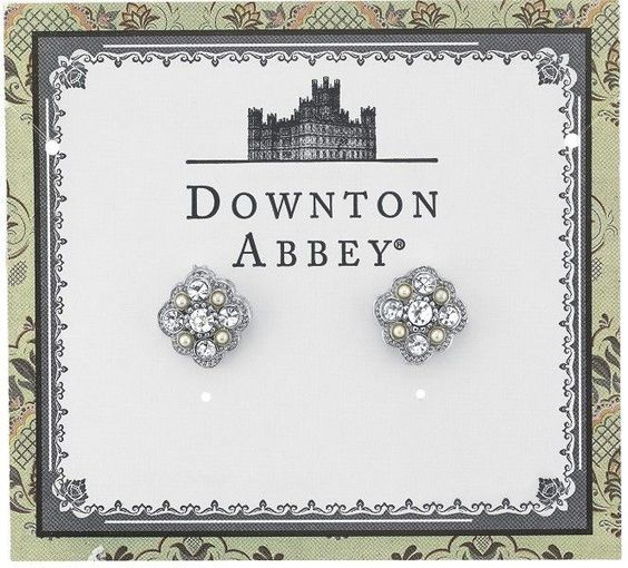 Downton Abbey® Silver-Tone Crystal and Simulated Pearl Stud Earrings
