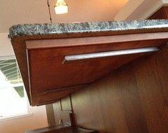 Granite countertops 2cm vs 3cm extra support for bar for Maximum overhang for granite countertop