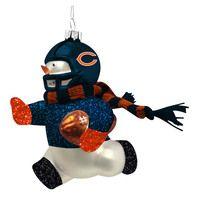 Chicago Bears Glass Snowman Player Christmas Ornament
