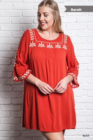 The Sarah Dress - Rust – Honey Penny Boutique XL, 1XL, 2XL Plus size dresses Plus size boutique XL dresses