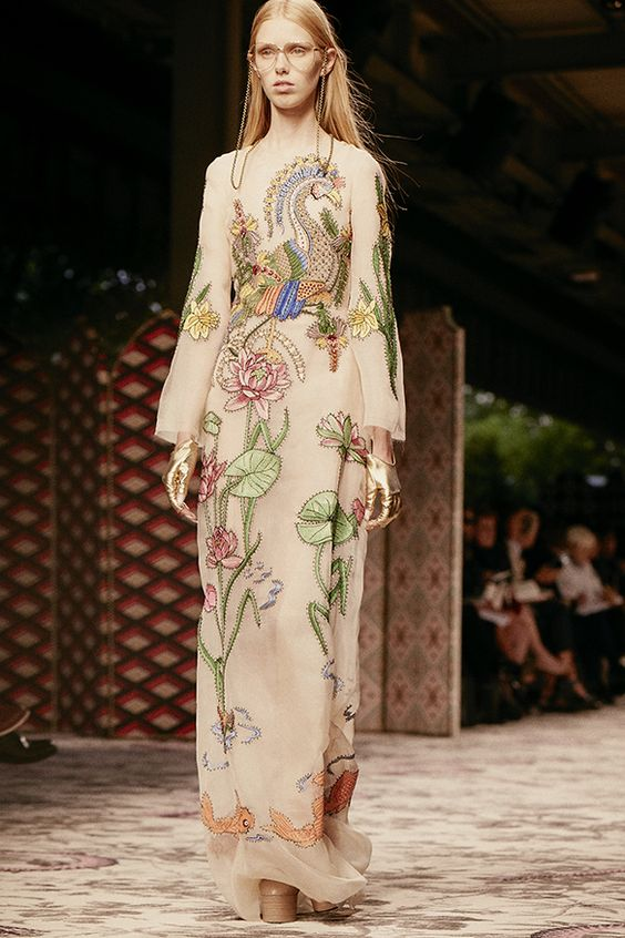 gucci runway spring summer 2016 embroidered dress