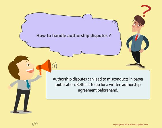 #Manuscriptedit @ How to handle #authorship disputes?  #Authorship disputes can lead to misconducts in #paper #publication. Better is to go for a written #authorship agreement beforehand.  #Manuscriptedit #publication : http://bit.ly/1NvtPEX
