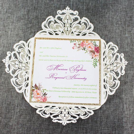 Water color floral laser cut wedding invitations, gold glitter invitations