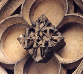"""Overlooked at the time of Anne Boleyn's execution: HA, ceiling of Hampton Court Palace (now known as the Anne Boleyn Gateway), attached with a """"lover's knot""""."""