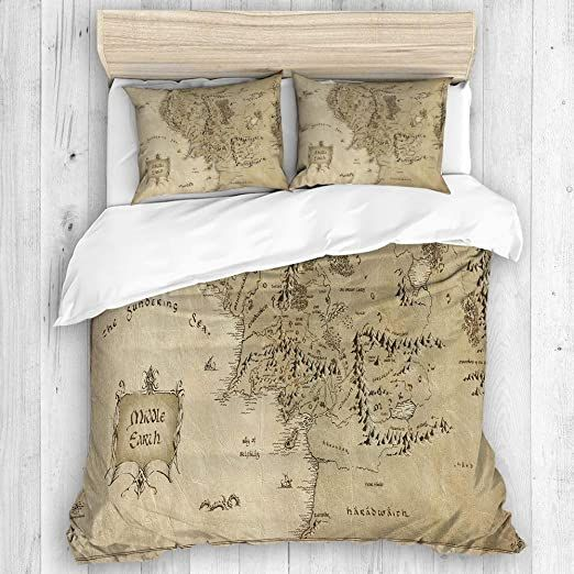 Chanhaan Duvet Cover Set Lord Of The Ring Map Of Middle Earth Decorative 3 Piece Bedding Set With 2 Pillow Sham Duvet Cover Sets Comforter Cover Down Comforter