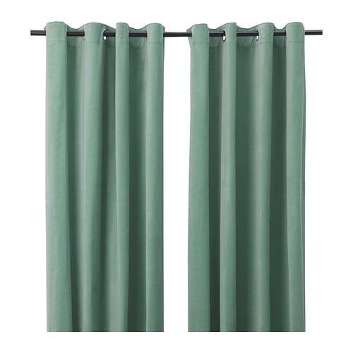 Sanela Rideaux 2 Pieces Vert Clair Avec Oeillets 140x300 Cm Rideaux Rideau Vert Rideau Epais