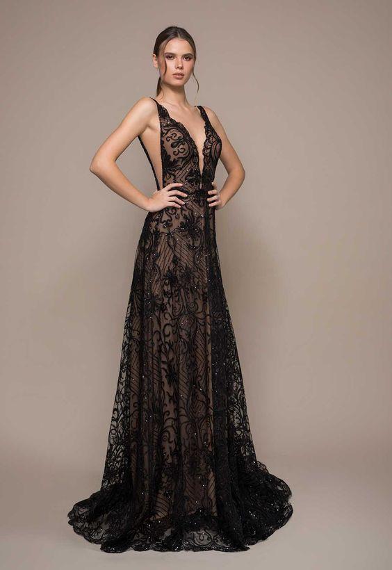 Vestido de formatura preto explêndido