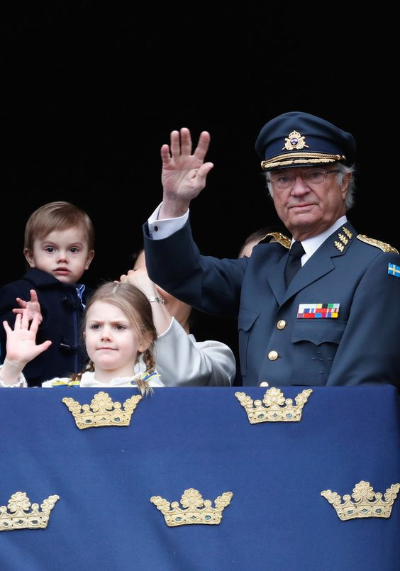 Prince Oscar, Duke of Skane, Princess Estelle, Duchess of Ostergotland and King Carl XVI Gustaf attend a celebration of his 72nd birthday anniversary at the Royal Palace on April 30, 2018 in Stockholm, Sweden.