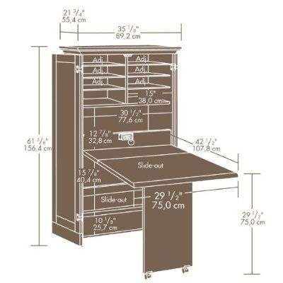 Craft Sewing Machine Cabinet Storage Armoire Organizer Drop Leaf Table Shipping