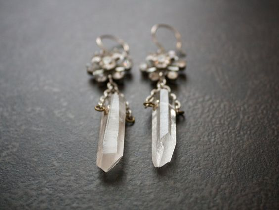 Natural Quartz Assemblage Earrings with Vintage by BevaStyles, $35.00