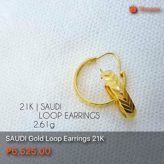 Saudi Gold Loop Earrings 21k 2 7 Grams Great Investment Pawnable Great For Gifts Gold Goldjewelry Goldph Earrings G Gold Jewelry Loop Earrings Gold