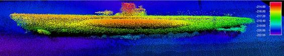 A sonar image of the German U-boat U-576, which was sent to the bottom of the Atlantic by U.S. Naval forces after attacking a guarded merchant convoy on July 15, 1942. The site of this shipwreck, the grave of 45 German crewmen,