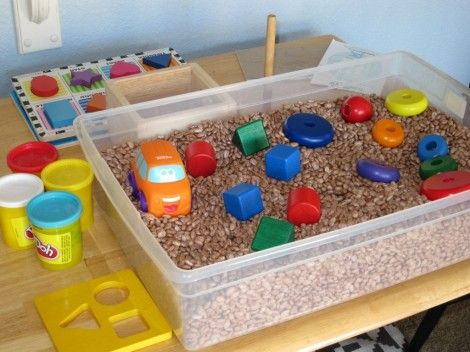 Cheerio sensory table: Put a large plastic container on a child sized table and fill with Cheerios. Add shovels and small cups.