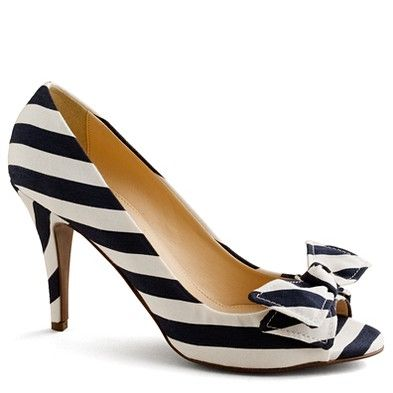 These make me so happy with the striped bow and heel on a morning that I need a little happy :) { Evie stripe peep-toe pumps, from J. Crew [$258] }