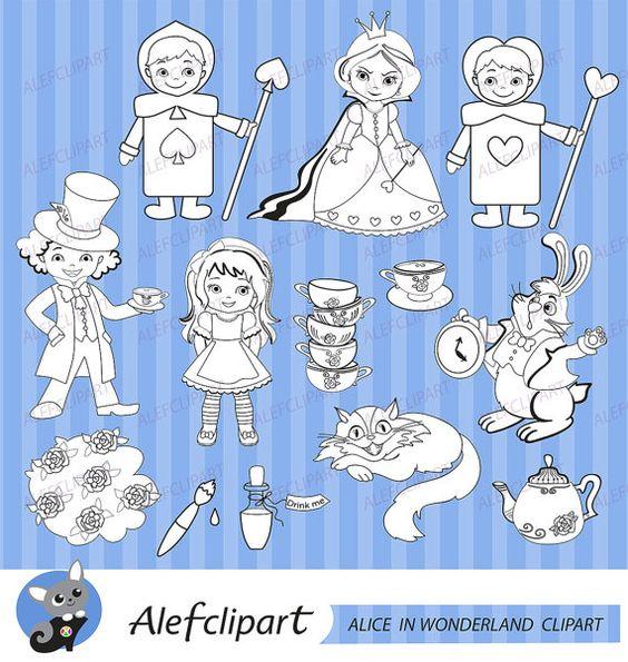 50 % de rabais vente Alice Wonderland numérique par Alefclipart