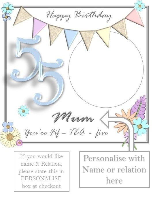 Bob 55th Female Personalise Example In 2020 65th Birthday Cards 50th Birthday Cards 40th Birthday Cards