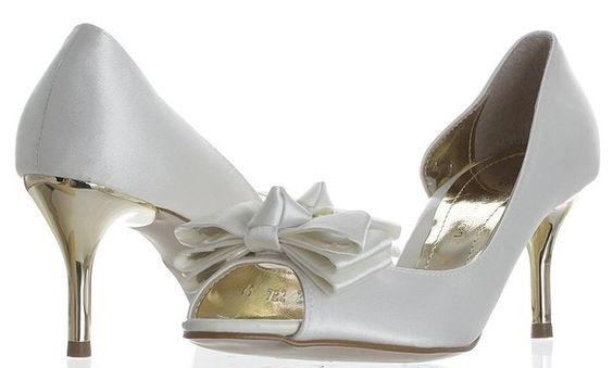 Peep-Toe Satin Ribbons Wedding Pumps for Bridal white 235