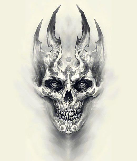 Scary Tattoo Design Scary Tattoos Skulls Drawing Evil Skull Tattoo