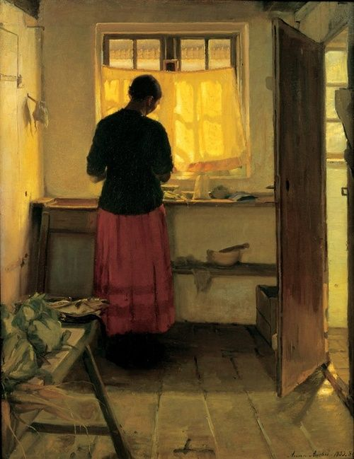 girl in the kitchen - anna ancher ~1886