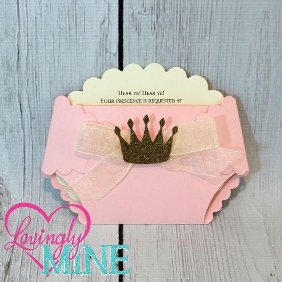Princess Baby Shower Diaper Invitations in Baby por LovinglyMine