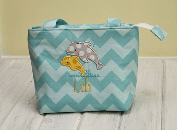 Dolphin Personalized Insulated Lunch Tote with Zipper by BittyKs, $35.00