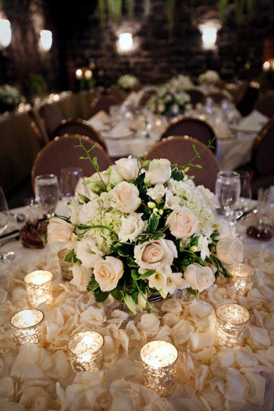 Amazing Centerpiece - Roses - Ivory - Petals - Romantic Floral Design - Mercury Glass Votives - Elegant Details - Simple and Elegance - Wedding Florals - Flowers for Events - Event Decor - Low Lighting Ideas - Wedding Ideas - Knoxville TN Florist - www.lisafosterdesign.com